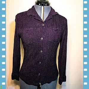 Chico's Purple Textured Silk Blend Button Shirt